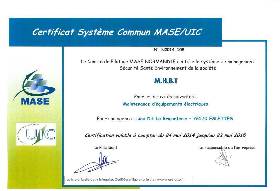 certificat systeme commun mase uic